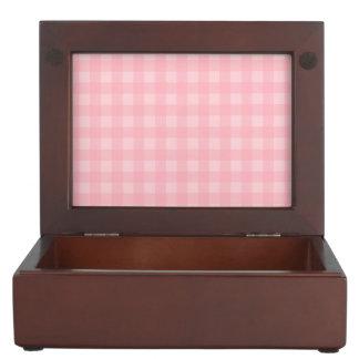 Retro Pink Gingham Checkered Pattern Background Memory Box