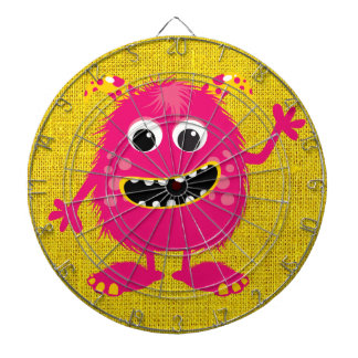 Retro Pink Girly Monster Dartboard With Darts
