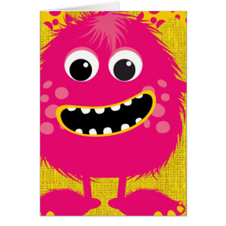 Retro Pink Girly Monster Greeting Card