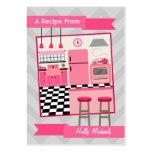 Retro Pink Kitchen Recipe Cards