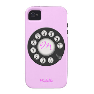 Retro Pink Mongram Rotary Themed Cases Case-Mate iPhone 4 Cases