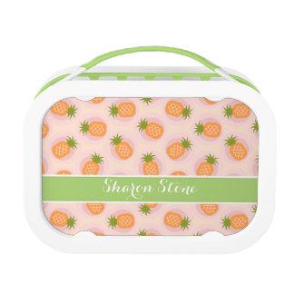 Retro pink orange pineapple patterns monogram lunch boxes