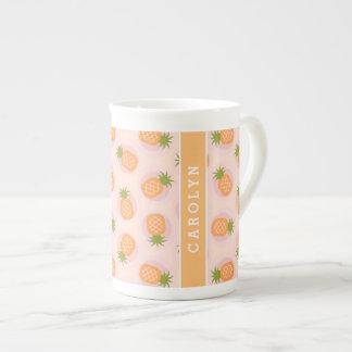 Retro pink orange pineapple patterns monogram tea cup