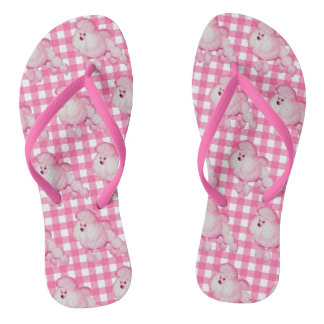 Retro Pink Poodle And Gingham Flip Flops