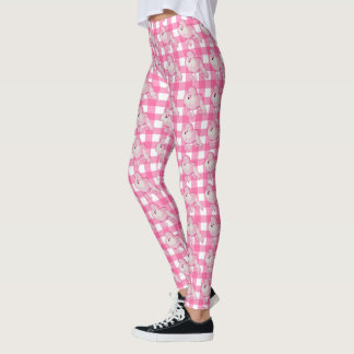 Retro Pink Poodle And Gingham Leggings