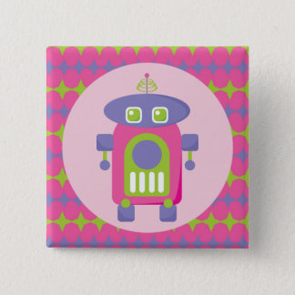 Retro Pink, Purple and Green Robot with Stars 15 Cm Square Badge