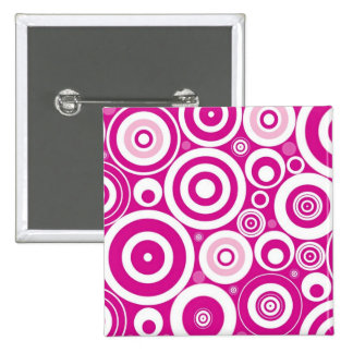 Retro Pink Purple Circles Pattern Pinback Button