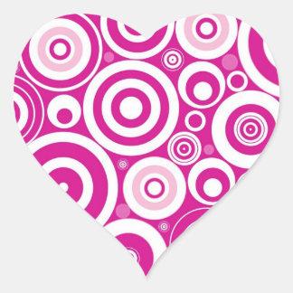 Retro Pink Purple Circles Pattern Heart Sticker