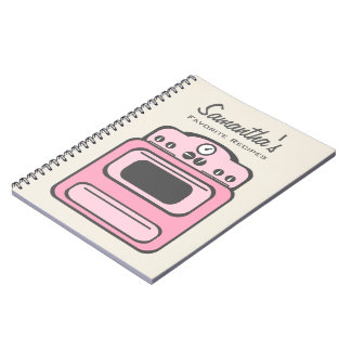 Retro Pink Stove Recipe Notebook