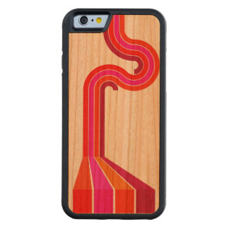 Retro Pink Stripes Pattern Carved Cherry iPhone 6 Bumper Case