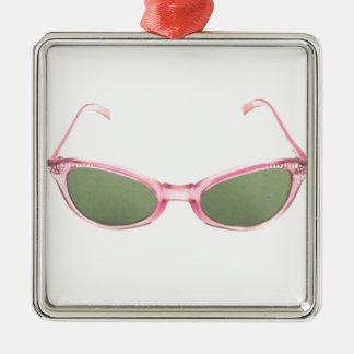 Retro Pink Sunglasses Silver-Colored Square Decoration
