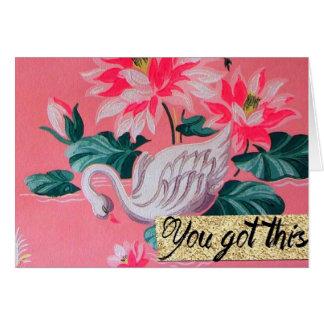 Retro pink swan wallpaper note card
