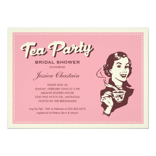 Retro Pink Tea Party Invitations