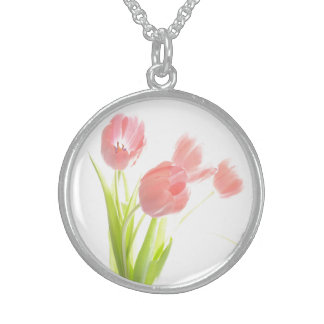 Retro pink tulip flower Customizable Necklace