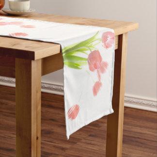 Retro pink tulip flower white flower table runner