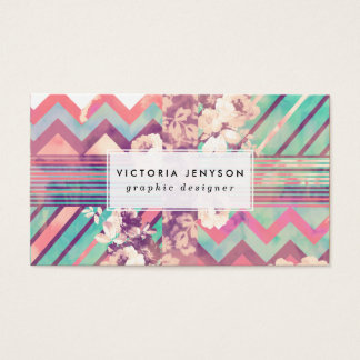 Retro Pink Turquoise Floral Stripe Chevron Pattern Business Card