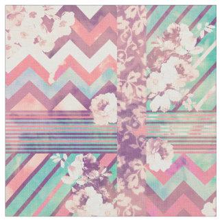 Retro Pink Turquoise Floral Stripe Chevron Pattern Fabric