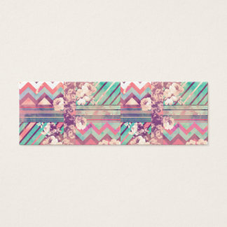 Retro Pink Turquoise Floral Stripe Chevron Pattern Mini Business Card