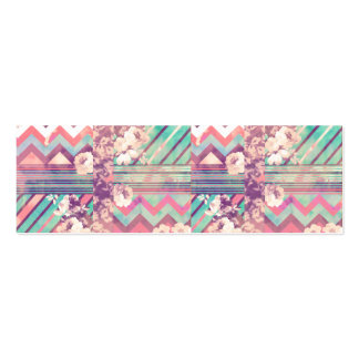 Retro Pink Turquoise Floral Stripe Chevron Pattern Pack Of Skinny Business Cards