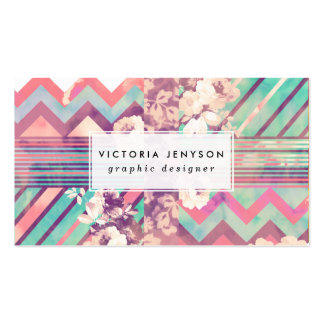 Retro Pink Turquoise Floral Stripe Chevron Pattern Pack Of Standard Business Cards