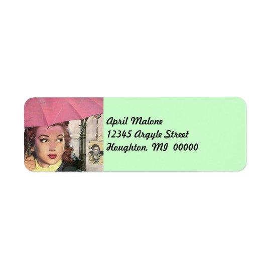 Retro Pink Umbrella Rainy day Return Address Label
