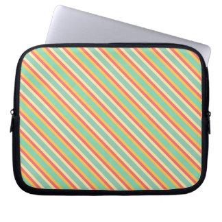 Retro Pink Yellow Green Blue Stripes Laptop Sleeve