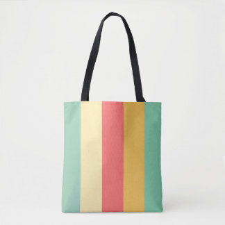 Retro Pink Yellow Green Blue Stripes Tote Bag