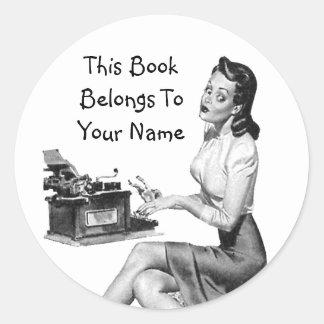 Retro Pinup Bookplate Classic Round Sticker
