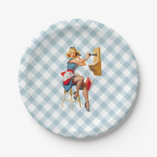 Retro Pinup Telephone Gingham Vintage Blue Red 7 Inch Paper Plate