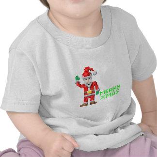 Retro pixel art Christmas Santa Tee Shirt