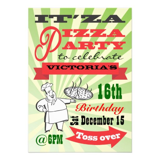 Retro Pizza Party Custom Invite