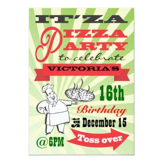 Retro Pizza Party Custom Invite