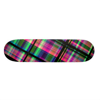 """Retro Plaid"" Fractal Art Custom Skateboard"