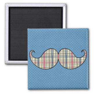 Retro Plaid Mustache Moustache Stache Fridge Magnets