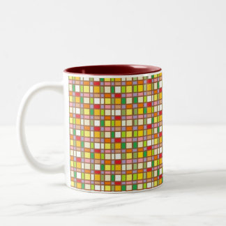 Retro Plaid Two-Tone Coffee Mug