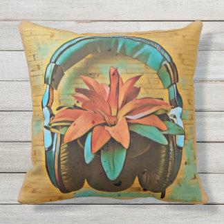 Retro plant wearing headphones outdoor cushion