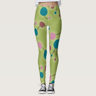 Retro Playful Large Molecules Universe Blue Green Leggings