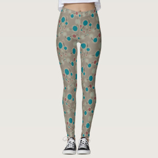 Retro Playful Small Molecules Universe Blue Grey Leggings