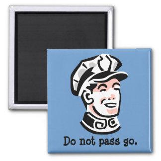 Retro Police Officer Guy Square Magnet