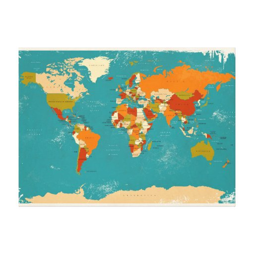 Retro Political Map of the World Gallery Wrapped Canvas