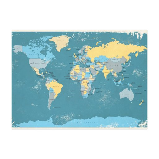 Retro Political Map of the World Gallery Wrap Canvas