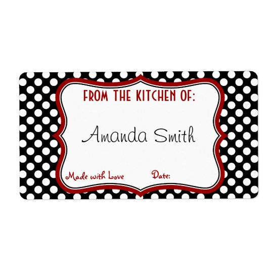 Retro Polka Dot Canning Label Shipping Label