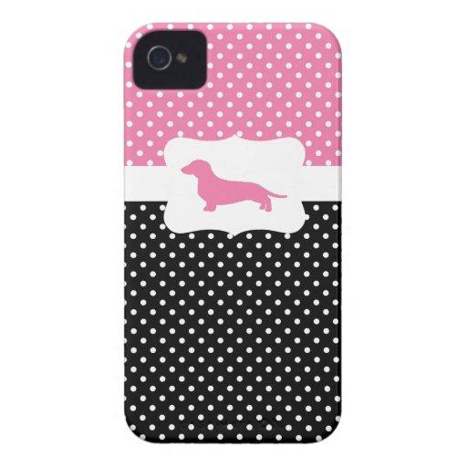 Retro Polka dot case w/Dachshund iPhone 4 Covers