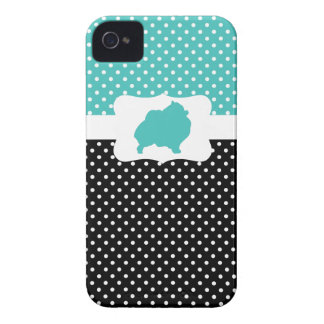 Retro Polka Dot w/Pomeranian iPhone 4 Cases