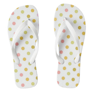 Retro Polka Dots Adult Wide Straps Flip-Flops Thongs