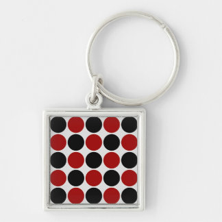 Retro Polka Dots in Red & Black Silver-Colored Square Key Ring