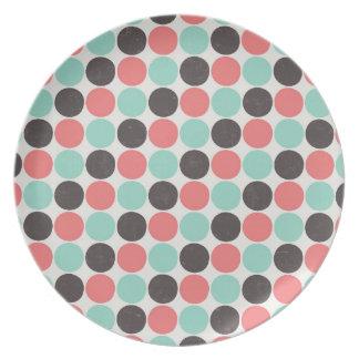 Retro polka dots plate, melamine diner style plate