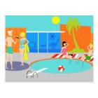 Retro Pool Party Postcard