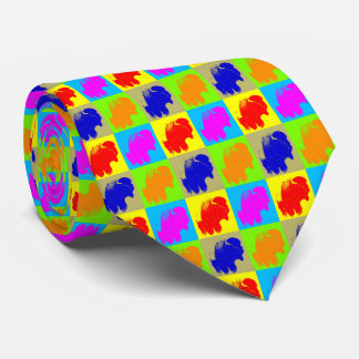 Retro Pop Art Bison Buffalo Artwork Tie