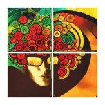 retro pop art psychedelic 4 panel canvas